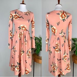 Reb & J. 220 | Floral Long Sleeve Midi Dress